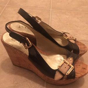 Slingback Guess Wedge With Buckle Black\ Gold